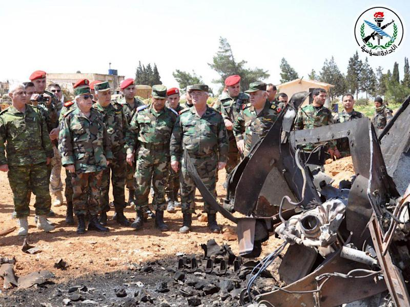 General Ali Abdullah Ayyoub, the Syrian army's chief of staff, visiting Shayrat airbase on 7 April (SANA)