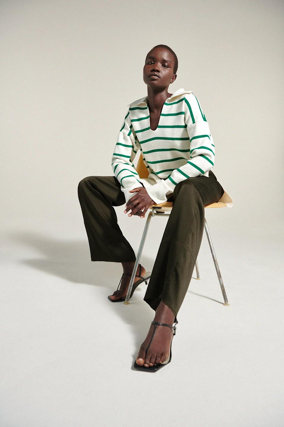 <p>This <span>Zara Oversized Striped Knit Sweater</span> ($50) will be the one you'll reach for every day. The green stripes add a sporty touch of playfulness.</p>