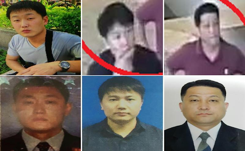 Malaysian police have identified North Koreans they want to speak to over the killing of Kim Jong-Nam: (L to R, top and bottom) Ri Ji U, airline employee Kim Uk Il, and diplomat Hyon Kwang Song (AFP Photo/Handout)