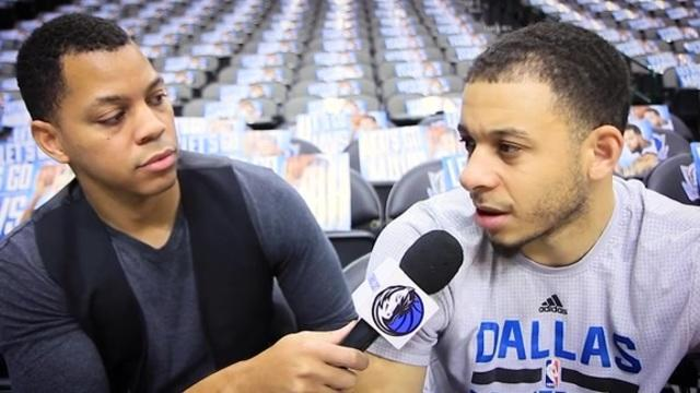 Earl K. Sneed, seen here interviewing Dallas guard Seth Curry, was a Mavs.com beat writer from the 2010-11 season through Tuesday. (Screencap via NBA.com)