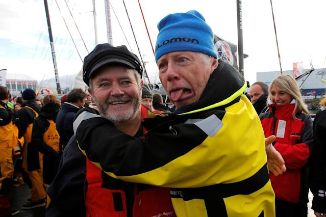 Skippers Enda O'Coineen of Ireland and Pieter Heerema of Netherlands just before to leave Les Sables d'Olonne, on France's Atlantic coast, to start in the Vendee Globe sailing race, western France, November 6, 2016. REUTERS/Stephane Mahe