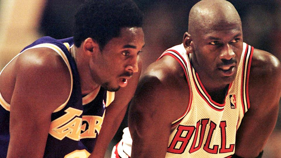Kobe Bryant was mentored throughout his early years in the NBA by Michael Jordan, whose game and mindset the Lakers legend sought to emulate. (Photo: VINCENT LAFORET/AFP/Getty Images)