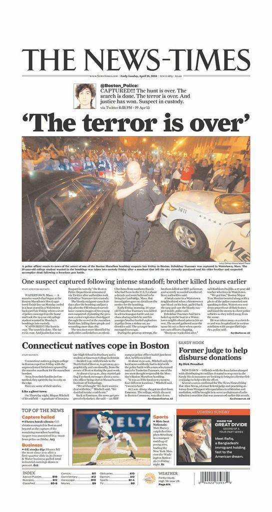 """The terror is over."" Danbury, Conn., News-Times, April 20, 2013."