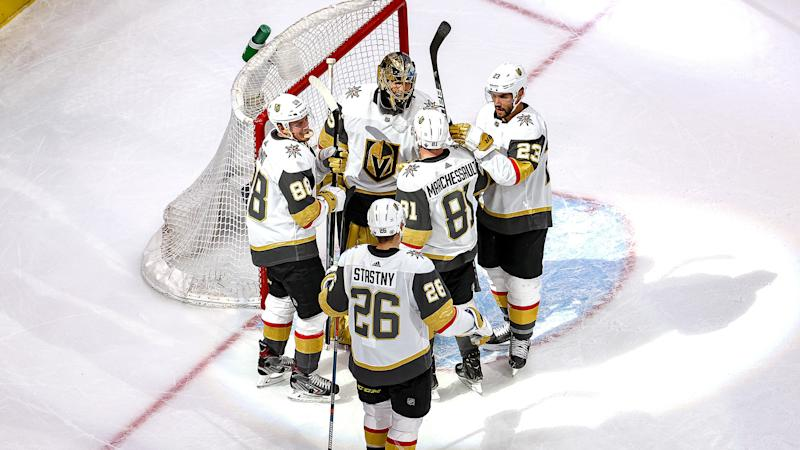 EDMONTON, ALBERTA - AUGUST 30: The Vegas Golden Knights celebrate their 5-3 victory against the Vancouver Canucks in Game Four of the Western Conference Second Round during the 2020 NHL Stanley Cup Playoffs at Rogers Place on August 30, 2020 in Edmonton, Alberta, Canada. (Photo by Bruce Bennett/Getty Images)