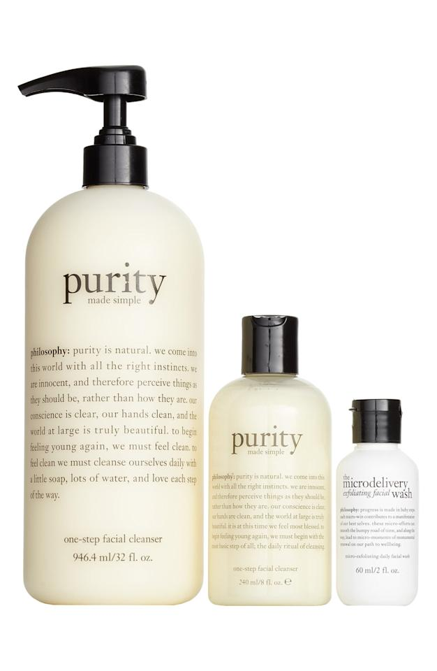 "<p><a href=""https://www.popsugar.com/buy/Philosophy-Purity-Trio-Set-475315?p_name=Philosophy%20Purity%20Trio%20Set&retailer=shop.nordstrom.com&pid=475315&price=55&evar1=bella%3Aus&evar9=46372124&evar98=https%3A%2F%2Fwww.popsugar.com%2Fbeauty%2Fphoto-gallery%2F46372124%2Fimage%2F46450606%2FPhilosophy-Purity-Trio-Set&list1=shopping%2Cnordstrom%2Cmakeup%2Csale%2Cbeauty%20shopping%2Csale%20shopping%2Cbeauty%20sale%2Cnordstrom%20sale%2Cnordstrom%20anniversary%20sale%2Cskin%20care&prop13=api&pdata=1"" rel=""nofollow"" data-shoppable-link=""1"" target=""_blank"" class=""ga-track"" data-ga-category=""Related"" data-ga-label=""https://shop.nordstrom.com/s/philosophy-purity-trio-set-87-value/4921427?origin=category-personalizedsort&amp;breadcrumb=Home%2FAnniversary%20Sale%2FWomen%2FBeauty%20Exclusives&amp;color=none"" data-ga-action=""In-Line Links"">Philosophy Purity Trio Set</a> ($55, originally $87)</p>"