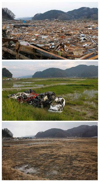 A combination photograph shows the same location in Rikuzentakata, northern Japan on three different dates, March 13, 2011 (top), September 9, 2011 (centre) and February 19, 2012 (bottom). The top photograph shows the devastation as rescue workers search for victims in the rubble after the magnitude 9.0 earthquake and tsunami, the centre photograph shows damaged cars, and the bottom photograph show the same location almost a year later.  REUTERS/Toru Hanai