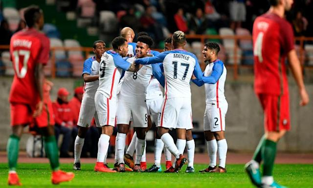 """<span class=""""element-image__caption"""">USA midfielder Weston McKennie celebrates after scoring his first ever international goal against Portugal on Tuesday. </span> <span class=""""element-image__credit"""">Photograph: Francisco Leong/AFP/Getty Images</span>"""