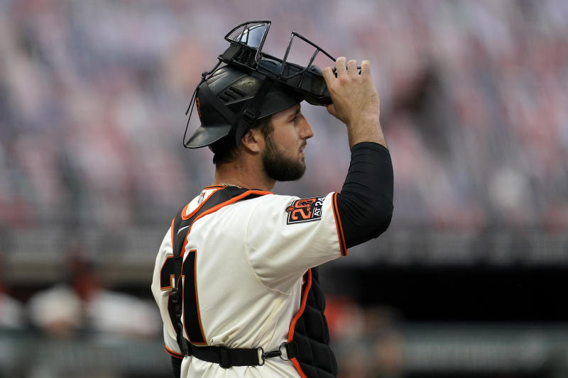 San Francisco Giants catcher Joey Bart waits at the plate during the first inning of a baseball game against the Los Angeles Angels in San Francisco, Thursday, Aug. 20, 2020. (AP Photo/Jeff Chiu)