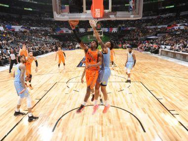 Team World in action against USA on Friday. Image courtesy: Twitter @NBAAllStar