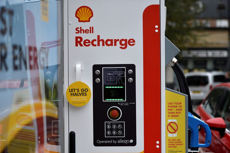 FILE PHOTO: Electric car charging points at the Holloway Road Shell station where Shell is launching its first fast electric vehicle charging station in London