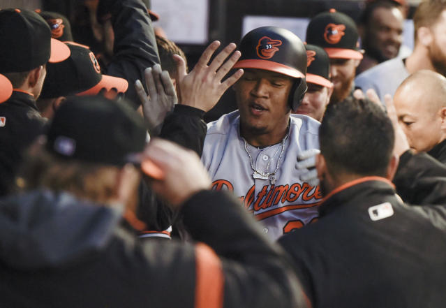 Baltimore Orioles' Pedro Severino celebrates his solo home run against the Chicago White Sox during the third inning of a baseball game Monday, April 29, 2019, in Chicago. (AP Photo/Mark Black)