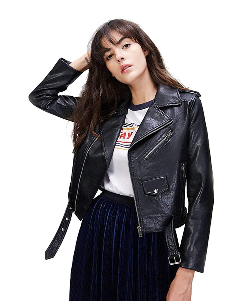 <p>This <span>LY VAREY LIN Faux Leather Motorcycle Jacket </span> ($39) is a bestseller.</p>
