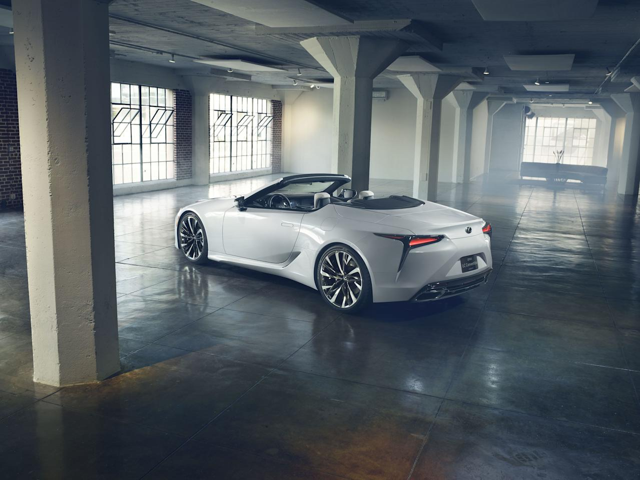 "The LC is Lexus's <a rel=""nofollow"" href=""https://www.architecturaldigest.com/story/2018-lexus-lc500-japanese-aston-martin?mbid=synd_yahoo_rss"">most lovely vehicle</a>, a lithe and athletic grand touring coupe. Providing it with a retractable top only increases its appeal to us. Though this vehicle is officially a ""concept,"" it seems destined for production."
