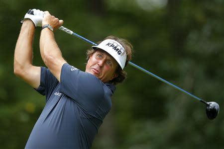 Mickelson of the U.S. tees off on the first hole during the Deutsche Bank Championship golf tournament in Norton