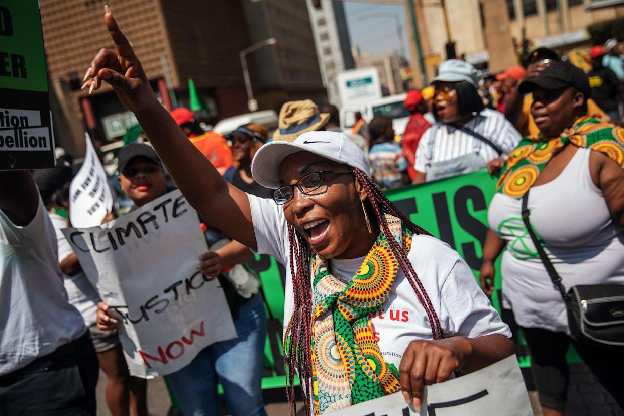 """Protesters march during the """"Fridays for Future"""" a rally against climate change as part of a Global Climate action day in Johannesburg on September 20, 2019. (Photo: Michele Spatari/AFP/Getty Images)"""