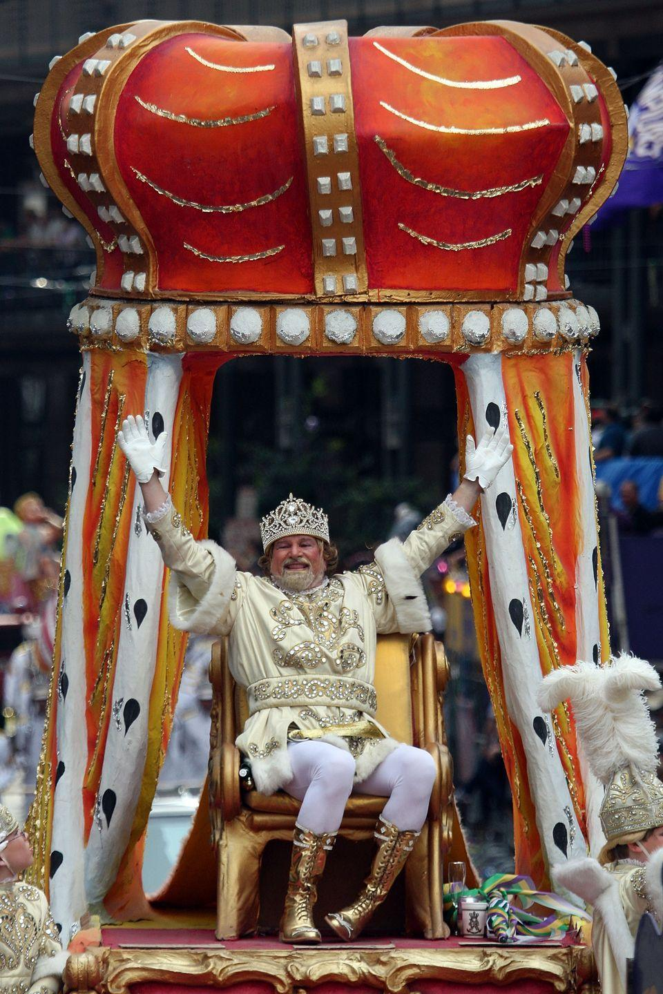 """<p>Mardi Gras is rife with royal court parodies; there are kings, queens, and jesters around every parade corner. But only one reigns as official king of Carnival: Rex, who sits on his throne in the Rex Organization's parade of eye-popping floats on Mardi Gras Day. The annually-selected monarch receives a symbolic golden <a href=""""https://www.nola.com/archive/article_80291f01-6f53-539f-9f91-8dd921928320.html"""" rel=""""nofollow noopener"""" target=""""_blank"""" data-ylk=""""slk:key to the city"""" class=""""link rapid-noclick-resp"""">key to the city</a>, and he in turn decrees that it's time for the city to shut down and celebrate. </p>"""
