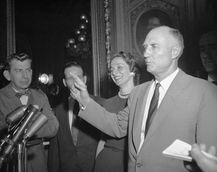 Senator Strom Thurmond (D-S.C.) is mobbed by reporters as he steps from the Senate Chamber after ending his 24-hour, 18-minute filibuster against the Civil Rights Bill on Aug. 29, 1957. Thurmond broke the record set in 1953 by Sen. Wayne Morse (D-Ore.). (Photo: Bettmann via Getty Images)