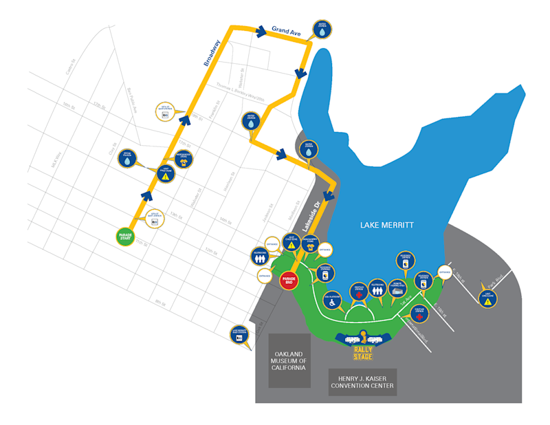 The route for the Warriors' 2017 NBA championship parade through downtown Oakland. (Image via Warriors.com)