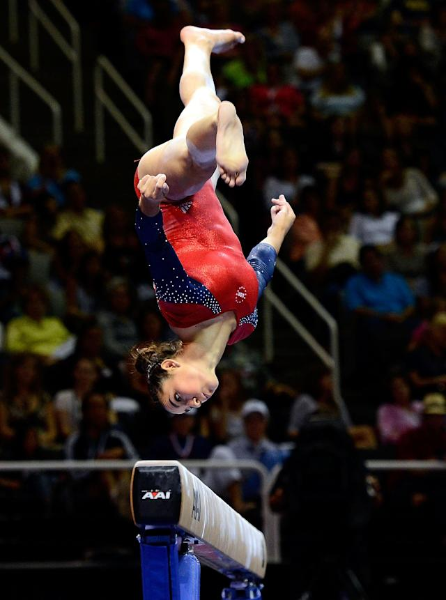 SAN JOSE, CA - JULY 01: Alexandra Raisman competes on the balance beam during day 4 of the 2012 U.S. Olympic Gymnastics Team Trials at HP Pavilion on July 1, 2012 in San Jose, California. (Photo by Ronald Martinez/Getty Images)