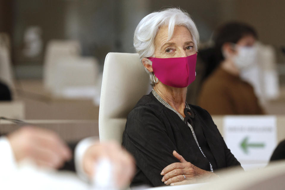 European Central Bank (ECB) President Christine Lagarde, wearing face mask, attends the 16th Congress of Regions (Congres des Regions) in Saint-Ouen, north of Paris on October 19, 2020. (Photo by GEOFFROY VAN DER HASSELT / AFP) (Photo by GEOFFROY VAN DER HASSELT/AFP via Getty Images)