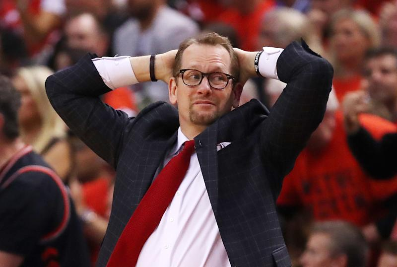 What was Nick Nurse thinking when he called a timeout in the middle of the Raptors' late go-ahead run? (Getty)