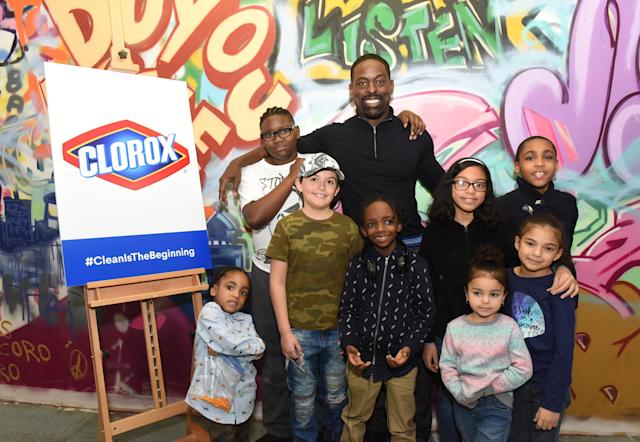 "<p>The <i>This Is Us</i> star joined Clorox and Thrive Collective to open a new Youth Opportunity Hub in Harlem on Tuesday — and greeted the kids who will be using the arts-centered mentoring center. ""Inner-city youth, who have been deprived of arts programs, now have a space where the can have the way in which they see the world validated,"" Brown told Yahoo at the event. ""Their art can be appreciated and prized."" He said he was inspired to partner with Clorox by his two sons, whom he wants to see grow to be ""kind, resilient, responsible citizens of the world."" He also praised his wife for holding things down at home during his trip to NYC. ""Ryan Michelle Bathe is an absolute stalwart in our family, and if she'd didn't exist, then nothing else could transpire in terms of my life."" Swoon. (Photo: Diane Bondareff/Invision for Clorox/AP Images) </p>"
