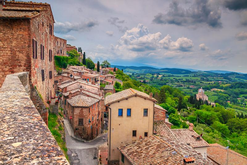 Famous travel and touristic location. Breathtaking Tuscany landscape seen from the walls of Montepulciano, Italy, Europe