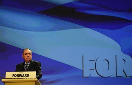 Scotland's First Minister Alex Salmond delivers his speech at the SNP Spring Conference in Aberdeen