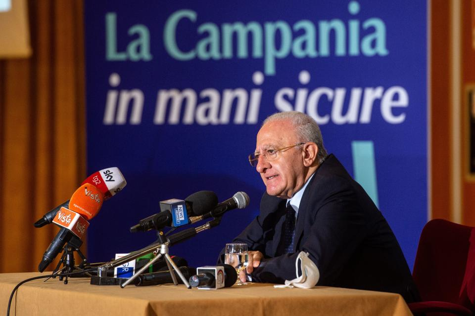 NAPLES, ITALY - SEPTEMBER 21: Vincenzo De Luca holds a press conference after the announcement of the first exit polls confirming him as Governor of the Campania Region on September 21, 2020 in Naples, Italy. On 20 and 21 September in Campania a vote was taken to renew the Regional Government, from the first data of the votes released by the Ministry of the Interior, the outgoing governor Vincenzo De Luca with a center-left coalition, is largely ahead of the center-right challenger Stefano Caldoro and the candidate Valeria Ciarambino of the Five Star Movement. (Photo by Ivan Romano/Getty Images) (Photo: Ivan Romano via Getty Images)