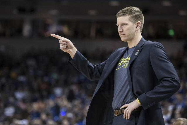 North Dakota State coach David Richman communicates with a player during the first half against Duke in a first-round game in the NCAA mens college basketball tournament Friday, March 22, 2019, in Columbia, S.C. (AP Photo/Sean Rayford)