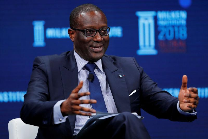 Tidjane Thiam, CEO, Credit Suisse Group AG, speaks at the Milken Institute 21st Global Conference in Beverly Hills, California