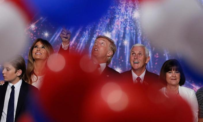 "<span class=""element-image__caption"">Donald and Melania Trump celebrate at the Republican national convention with Mike and Karen Pence in Cleveland, Ohio, on 21 July 2016.</span> <span class=""element-image__credit"">Photograph: Mike Segar/Reuters</span>"