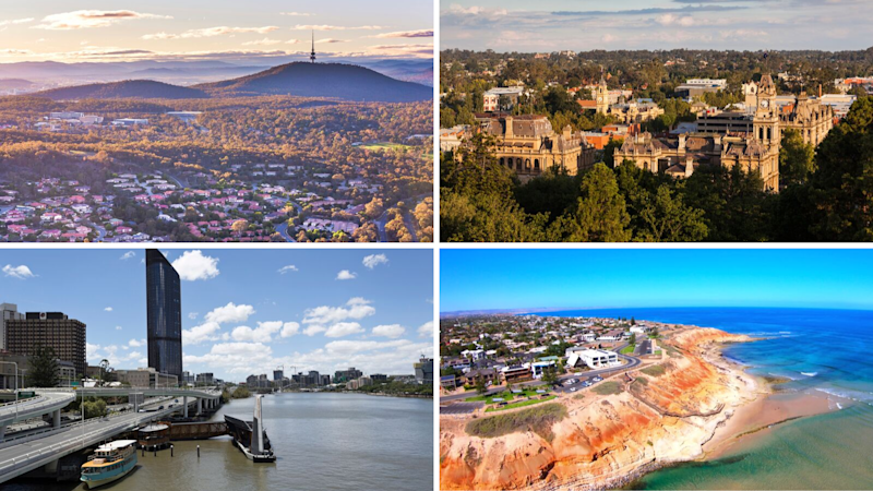 10 property hotspots to look out for in the next 9-12 months. Clockwise: Belconnen; Bendigo; Brisbane North; Onkaparinga. (Source: Getty)