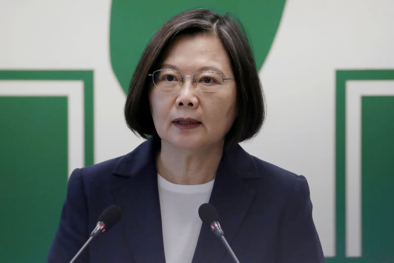 FILE PHOTO: FILE PHOTO: Taiwan President Tsai Ing-wen speaks to the media in Taipei