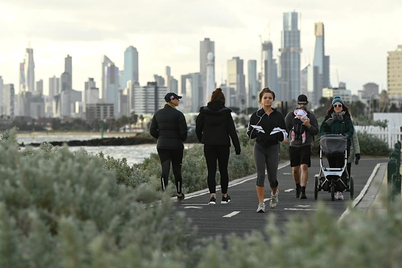 Melburnians exercise along Elwood Beach on July 13, 2020 in Melbourne.
