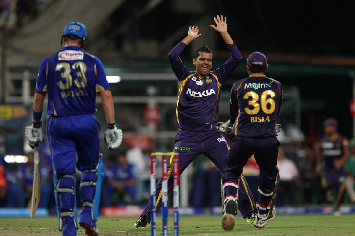 Sunil Narine celebrates the wicket of Shane Watson during match 47 of the Pepsi Indian Premier League between The Kolkata Knight Riders and the Rajasthan Royals held at the Eden Gardens Stadium in Kolkata on the 3rd May 2013..Photo by Ron Gaunt-IPL-SPORTZPICS  ..Use of this image is subject to the terms and conditions as outlined by the BCCI. These terms can be found by following this link:..https://ec.yimg.com/ec?url=http%3a%2f%2fwww.sportzpics.co.za%2fimage%2fI0000SoRagM2cIEc&t=1506398584&sig=H6xOdQB3.4pkjYHtyV8Cig--~D