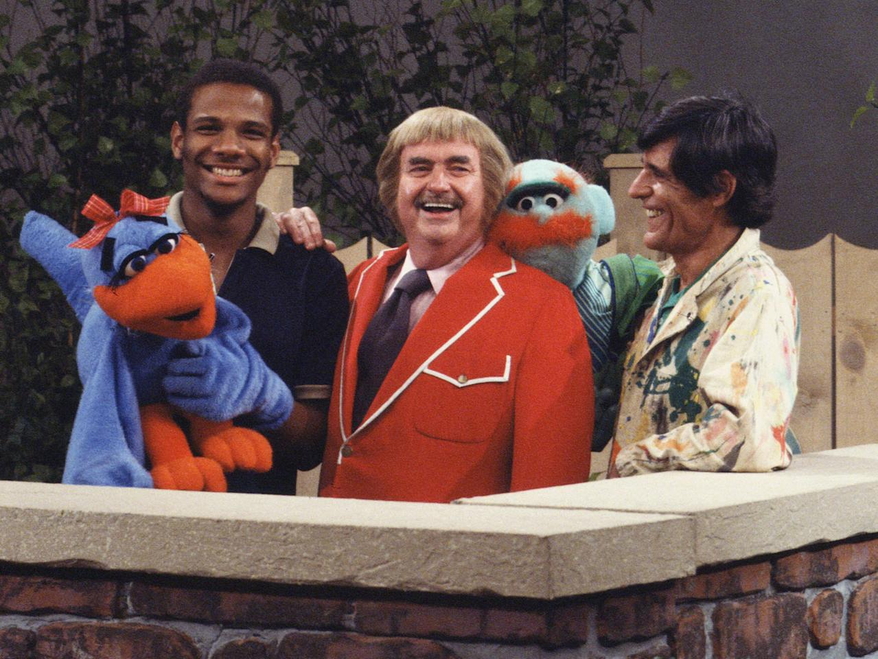 """Puppeteer Kevin Clash, Bob Keeshan (Captain Kangaroo), and puppeteer Gus """"Cosmo"""" Allegretti in October, 1978."""