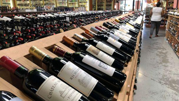 PHOTO: Bottles of French wine are displayed for sale in a liquor store on Oct. 3, 2019 in Los Angeles. (Mario Tama/Getty Images, FILE)