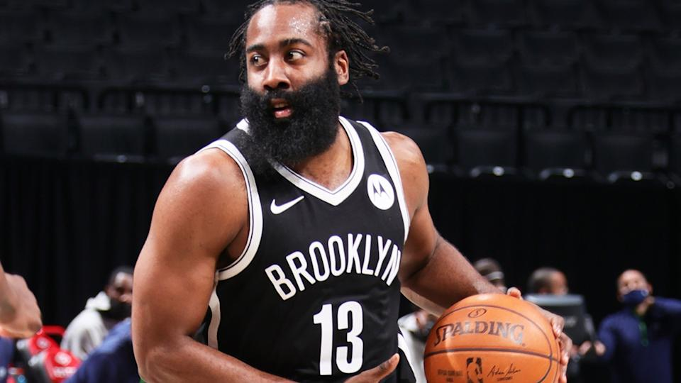 Brooklyn Nets star James Harden suffered a setback in his recovery from a hamstring injury and will now be sidelined indefinitely. (Photo by Nathaniel S. Butler/NBAE via Getty Images)