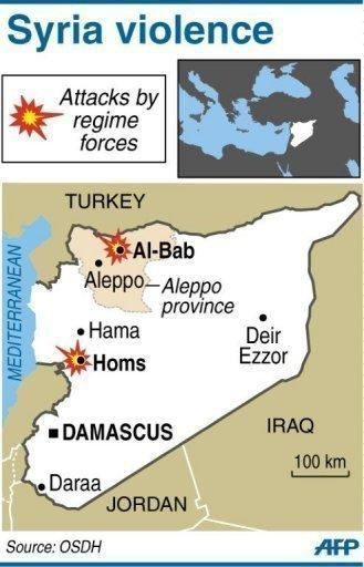 Map showing areas where Syrian forces shelled rebel areas and clashed with gunmen. The first international observers tasked with monitoring a shaky UN-backed ceasefire arrived Sunday in Syria, where regime forces pounded a rebel city and killed five civilians