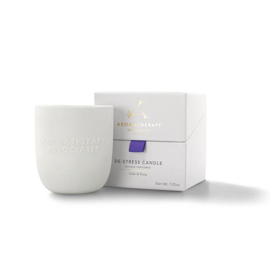 """<p>Encourage your dad to take a little time to relax and unwind with Aromatherapy Associates' De-Stress candle. Made from hand-poured vegan soy wax, it contains the equivalent of two bottles of essential oils, and has a burn time of 40 hours, provide ample time to undo the effects of any daily stresses.</p><p>£48, <a href=""""https://www.aromatherapyassociates.com/shop/by-category/candles.html"""" rel=""""nofollow noopener"""" target=""""_blank"""" data-ylk=""""slk:Aromatherapy Associates"""" class=""""link rapid-noclick-resp"""">Aromatherapy Associates</a>.</p>"""