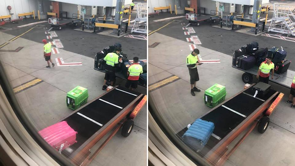 A woman has slammed Virgin Australia for leaving a dog boarding a flight on the tarmac on a hot day. Source: Facebook