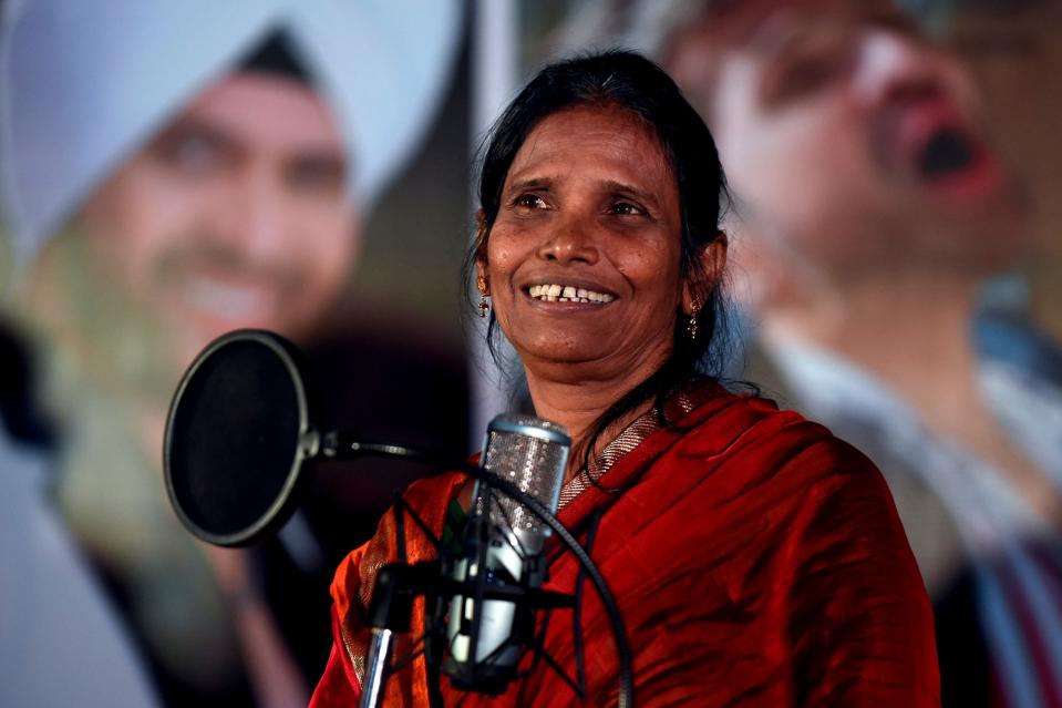 Singer Ranu Mondal, who became an online sensation after a video of her singing at a railway station in West Bengal went viral, takes part in a promotional event for the upcoming romantic Hindi comedy film 'Happy Hardy and Heer', in which she has a song featured, in Mumbai, on September 11, 2019. (Photo by SUJIT JAISWAL/AFP via Getty Images)