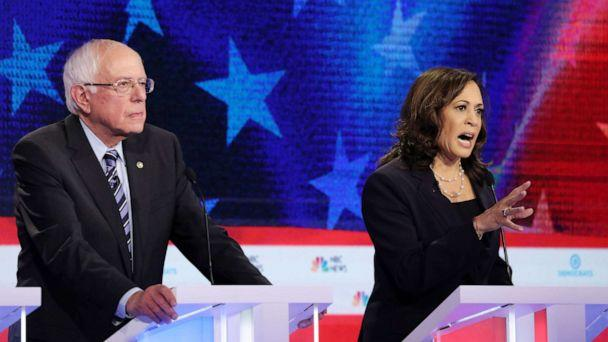 PHOTO: Bernie Sanders and Kamala Harris participate in the second night of the first 2020 democratic presidential debate at the Adrienne Arsht Center for the Performing Arts in Miami, June 27, 2019. (Drew Angerer/Getty Images)