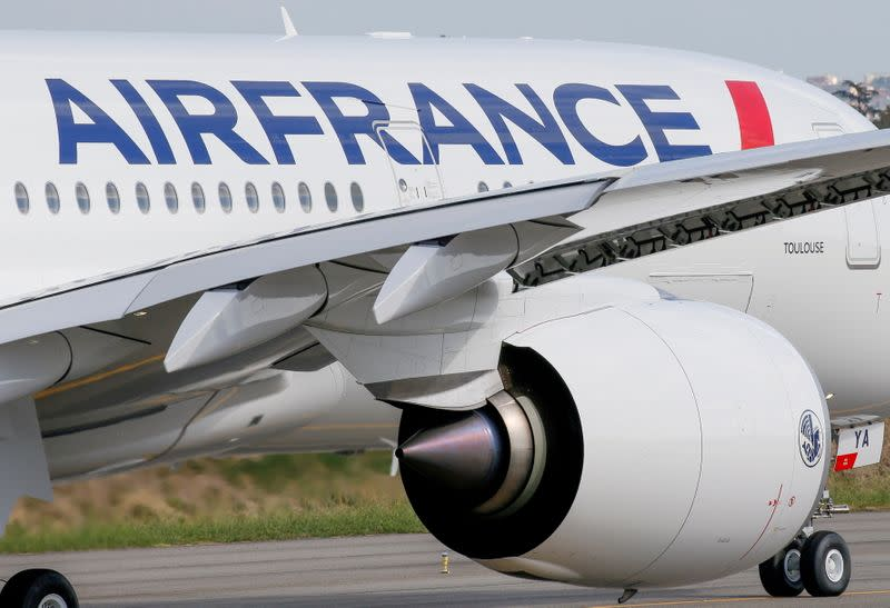 FILE PHOTO: The first Air France Airbus A350 prepares to take off after a ceremony at the aircraft builder's headquarters in Colomiers near Toulouse, France