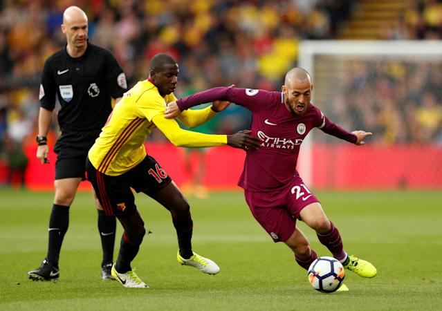 <p>Manchester City's David Silva in action with Watford's Abdoulaye Doucoure Action Images via Reuters/John Sibley </p>