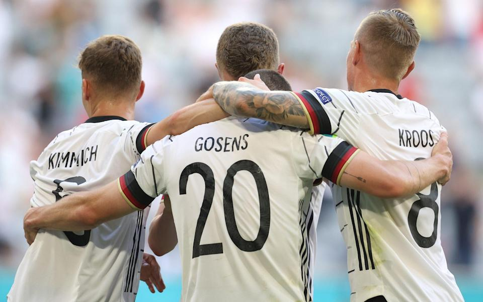 Robin Gosens and Joshua Kimmich and Toni Kroos - Robin Gosens and Joshua Kimmich too much for Portuguese as Germany hit stride - GETTY IMAGES