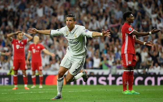 Cristiano Ronaldo of Real Madrid celebrates scoring his sides second goal - 2017 Getty Images