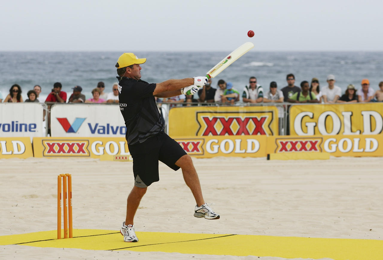 SYDNEY, AUSTRALIA - JANUARY 12: Martin Crowe of New Zealand hits a six during New Zealand's game against Australia in the Beach Cricket Tri-Nations Series held at Maroubra Beach January 12, 2008 in Sydney, Australia.  (Photo by Brendon Thorne/Getty Images)