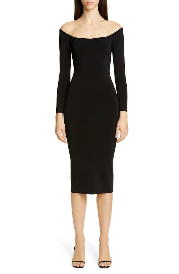 """<p>We'd definitely wear this <a href=""""https://www.popsugar.com/buy/Alexander-Wang-Long-Sleeve-Illusion-Neck-Body-Con-Sweater-Dress-491458?p_name=Alexander%20Wang%20Long%20Sleeve%20Illusion%20Neck%20Body-Con%20Sweater%20Dress&retailer=shop.nordstrom.com&pid=491458&price=595&evar1=fab%3Aus&evar9=45356186&evar98=https%3A%2F%2Fwww.popsugar.com%2Fphoto-gallery%2F45356186%2Fimage%2F46627380%2FAlexander-Wang-Long-Sleeve-Illusion-Neck-Body-Con-Sweater-Dress&list1=shopping%2Cfall%20fashion%2Csweaters%2Cdresses%2Cfall&prop13=api&pdata=1"""" rel=""""nofollow"""" data-shoppable-link=""""1"""" target=""""_blank"""" class=""""ga-track"""" data-ga-category=""""Related"""" data-ga-label=""""https://shop.nordstrom.com/s/alexander-wang-long-sleeve-illusion-neck-body-con-sweater-dress/5294972?origin=keywordsearch-personalizedsort&amp;breadcrumb=Home%2FAll%20Results&amp;color=black"""" data-ga-action=""""In-Line Links"""">Alexander Wang Long Sleeve Illusion Neck Body-Con Sweater Dress</a> ($595) on a night out.</p>"""